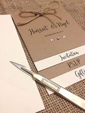 Layered Rustic brown invites (wedding / evening) tied with twine x 25