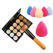 15 Colors Contour Cream Makeup Concealer Palette Kit + Powder Brush Sponge Puff
