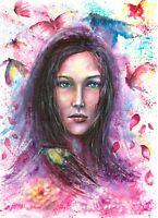 Woman face butterfly watercolor original painting portrait
