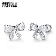 TTstyle Silver Surgical Steel Bow Fake Ear Cartilage Tragus Earrings A Pair NEW
