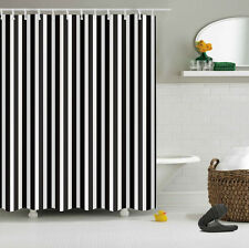 """60x72"""" Shower Curtain w/ Hook Polyester Waterproof Fabric Black & White Stripes"""