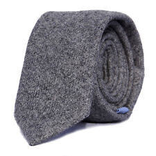 Luxury Gentlemens Country Grey Plain Tie Tweed Woven Wool Style Tartan