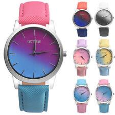 Retro Rainbow Women's Watch Leather Band Round Wrist Analogue Alloy Quartz