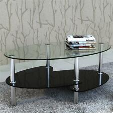 Modern Living Room Furniture Oval Coffee Table 3-Layer Clear and Black Glass