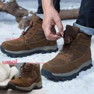 Mens Winter Genuine Cowhide Wool Boot Waterproof Climbing Warm Snow Boot Shoes