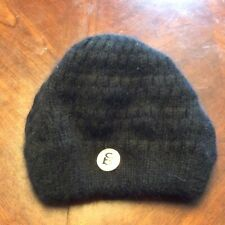 d99ef73f9ac99 Black Angora Blend Bebe Beanie One Size Fits All With Logo Pin Womens