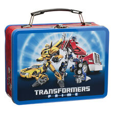 Transformers Figures Animation Art and Name Large Tin Tote Lunchbox, NEW UNUSED