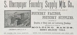 1888 AD.(XH6)~OBERMAYER FOUNDRY CO. CINCINNATI, OHIO. MOLDING SANDS, FACINGS