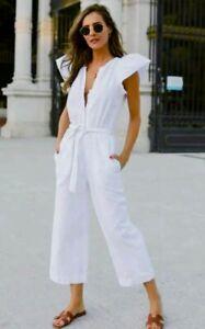 NWT Zara White Button Front Denim Jean Tie Waist Romper w/ Pockets - S / $49.90