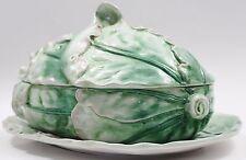 Large Vintage 3 Pc Italian Majolica Platter Tureen Romaine Lettuce Set RARE
