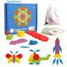 155pcs Wooden Pattern Puzzle Jigsaw Blocks Colourful Shapes Educational Toys Cen