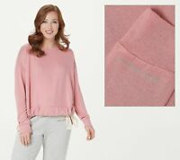 Peace Love World Crew Neck Comfy Knit Top with Drawstring Top (Pink, M) A376629