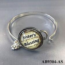 Silver Tone Sister's Blessing Phrase Design Bubble Pendant Bangle Bracelet