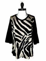 SUSAN GRAVER Plus Size 1X Shirt Top Black Beige Embroidery 3/4th Sleeve Cotton