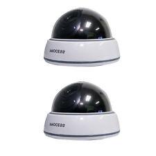 2 X Argent Factice Dôme Caméra De Sécurité CCTV Fausse Ir Clignotant Lumière Rouge JQ