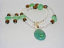 Necklace Clear/Green Jade/Smoky Quartz Beads with Earrings Set
