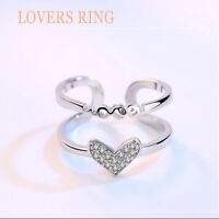 UK 925 Sterling Silver Rings Sparkly Love Heart Crystal Ring Adjustable Thumb