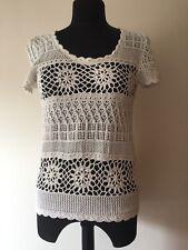 Fat Face Crochet Top Size 12 Nat/ecru