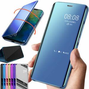 Pour iPhone XS Max XR 6s 7 8 Plus Transparent Miroir étui en cuir à rabat coque