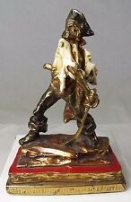 Antique Armor Bronze Pirate Signed P Beneduce Enameled Metal Statue Book End