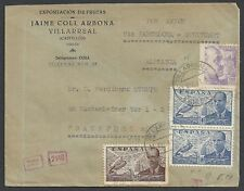 Spain 1941 censored Airmailcover Villareal to Frankfurt