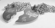 SOLID STAINLESS STEEL MOM DAUGHTER  SPLIT HEART NECKLACES LOVE FREE ENGRAVING