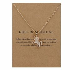 Children's kids Jewellery Silver or Gold colour UNICORN Necklace Pendant & card