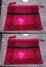PRADA CANDY fragrances hot pink clear sheer makeup cosmetic bag travel case X 2