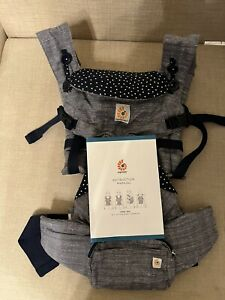 Ergobaby Omni 360 All Positions Baby Carrier Jacks Gray Tweed Navy Blue EUC