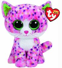 TY Beanie Boos Sophie The Cat Medium Soft Plush Toy With Pink Patterned Fur