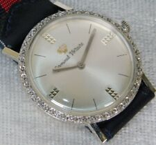 Vintage Men's Germinal Voltaire Diamond Bezel Solid 14K White Gold Wind Watch