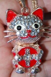 Gorgeous Rhinestone GOOD LUCK COIN CAT Necklace Pendent Gold Metal Animal Totem