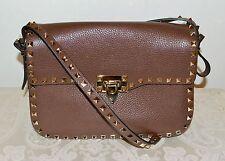New $2645 Valentino Garavani Rockstud Flap Leather Messenger Bag CACAO