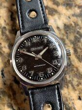 1960s Vintage Bulova Black Dial Steel Case Mens Watch T Swiss Steel 32mm