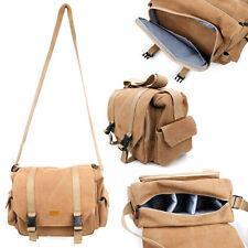 Large Vintage marron clair en toile sac de transport/étui pour Polaroid IXX5038 Caméra