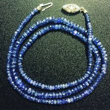 "New Natural Blue Sapphire Bead Necklace 20.5"" Long Genuine Gems 14k Gold Clasp"