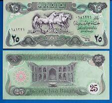 Iraq P-74a 5 Dinars Year 1990 3 Arabian horses Uncirculated Banknote