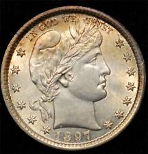 1897 Barber Quarter:  exceptional Mint State piece