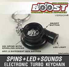 Boostnatics Electric Turbo Keychain Keyring w/ Sounds and LED - Black V4