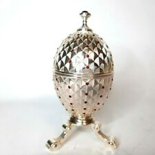 Casket for jewelry. Egg with red stones on a stand. Gift.