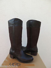 UGG TALL CASSIS LODGE BROWN DISTRESSED LEATHER RIDING BOOTS, US 8/ EUR 39 ~NIB