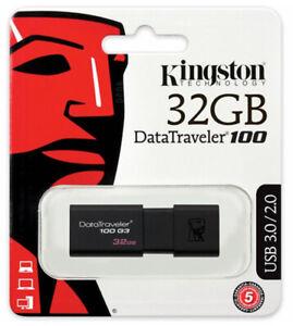Kingston 32GB USB 3.0 Flash Drive DT100G3 Pen Thumb USB Memory Stick Flash Drive