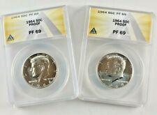 1964 Proof 50c PF 69 ANACS Certified Kennedy Half Silver Dollar
