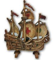 "Heavy Vintage Cast Iron Ship Lamp Boat Pirate Night Light Industrial Design 12"""