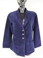 GUDRUN SJODEN SJÖDÉN Button Front Corduroy Dark Purple Blazer Jacket size Medium