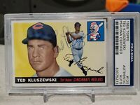 1955 TOPPS TED KLUSZEWSKI AUTOGRAPHED SIGNED CARD PSA DNA COA SLABBED REDLEGS