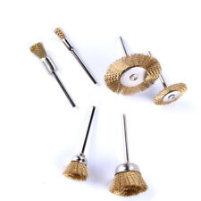 Mini Wire Brass Brushes Pen/Flat/Bowl Type for Dremel or Drill 3mm Dia 6pcs WCV