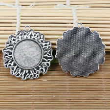 2pcs tibetan silver 45mm flower rim cabochon settings EF2163