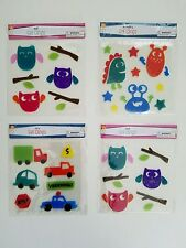 Gel Clings Window Decoration 4 Pack Lot 65 Reusable Decal Monster & Car & x2 Owl