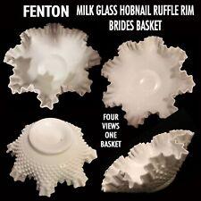 "Vintage Fenton 11 1/2"" Milk Glass Hobnail Brides Basket With Pinched Ruffled Rim"